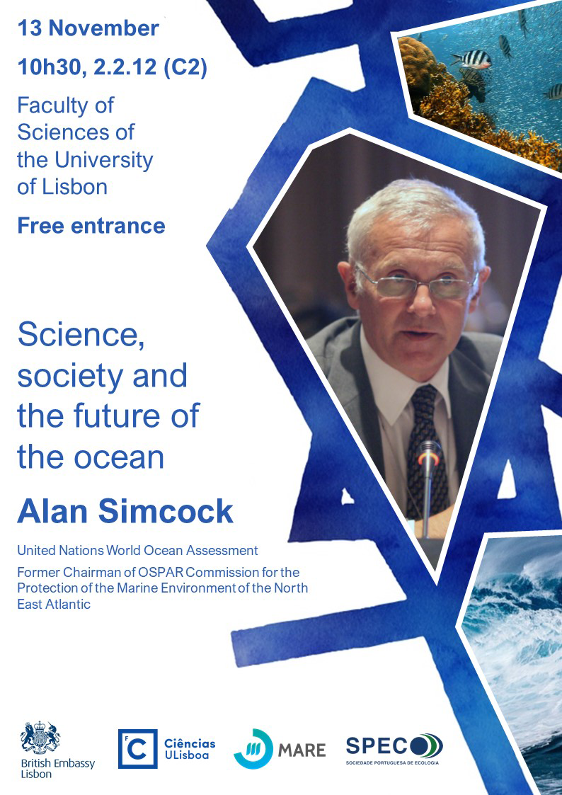 "Cartaz da palestra ""Science, society and the future of the ocean"""