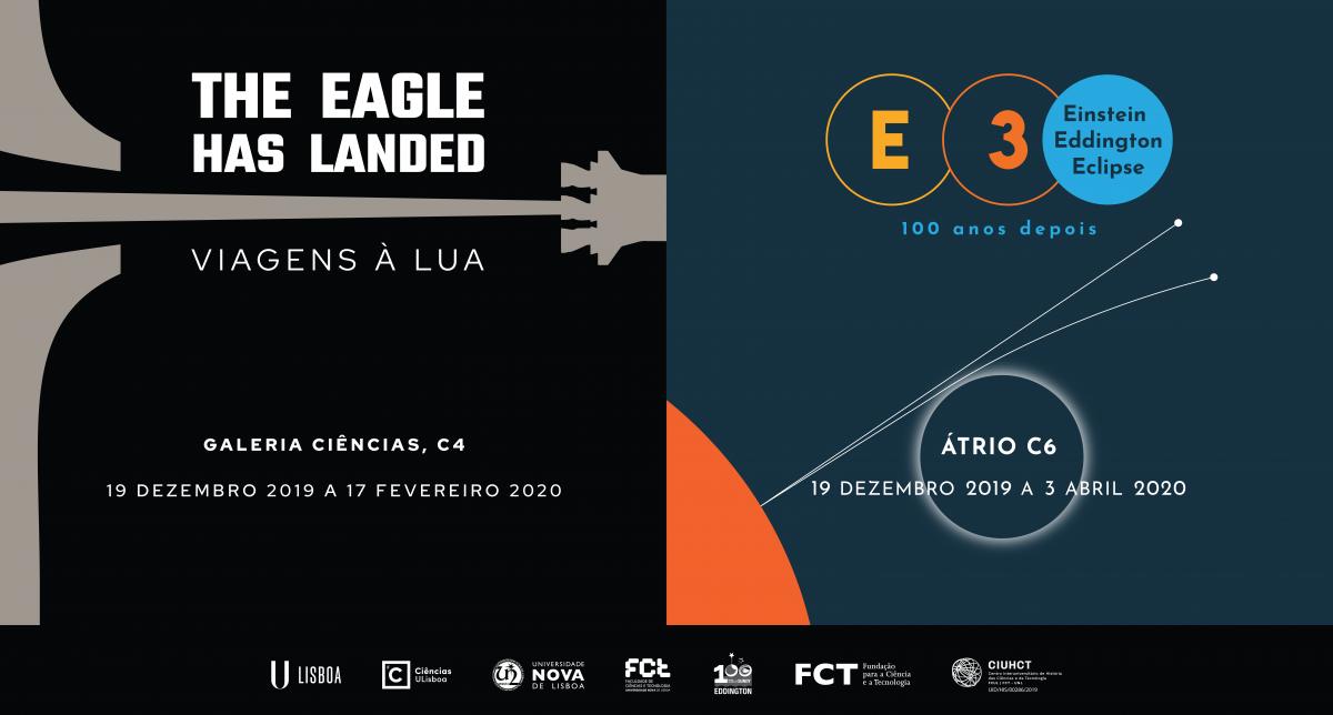 """Imagem ilustrativa das Exposições """"The Eagle Has Landed - Viagens à Lua"""" e """"E3 - Einstein, Eddington e o Eclipse"""""""