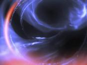 Pormenor de simulação de matéria a orbitar perto de um buraco negro