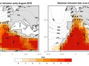 Ondas de calor de 1 a 7 de agosto de 2018 (à esquerda) e de 24 a 30 de junho de 2019 (à direita). As cores indicam o número de dias com intrusão de massa de ar quente proveniente do norte de África. Os pontos a negro identificam as regiões que, pela primeira vez (pelo menos desde 1948), foram afetadas por uma massa de ar com essas características