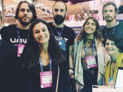 Representantes da Delta Soluções, Nevaro, Vawlt e equipa do Tec Labs no Web Summit 2019