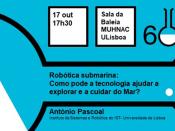 nformações relativas ao evento (título, data, hora, local, orador), sobre um fundo azul