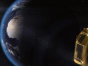 Imagem artística do satélite Ariel a caminho do ponto de Lagrange L2