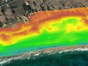 Modelo digital de superfície da duna de Porto Santo, com evidência da perturbação da duna frontal atualmente sujeita a deflação eólica