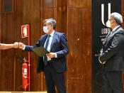 Cumprimento entre Bernardo Duarte e o Reitor da ULisboa