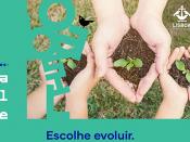 Imagem ilustrativa dos concursos (mãos, solo e plantas), sobre um fundo verde marinho, acompanhada do título e logótipos da Câmara Municipal de Lisboa e da Lisboa Capital Verde Europeia 2020