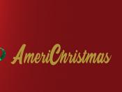 """Imagem ilustrativa do evento, acompanhada da palavra """"AmeriChristmas"""" sobre um fundo encarrnado"""