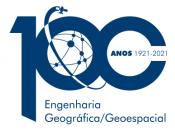 Logótipo dos 100 anos da criação da licenciatura em Engenharia Geográfica/Geoespacial