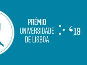 Logótipo do Prémio Universidade de Lisboa 2019, sobre um fundo azul