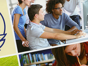 Logótipo da IAESTE, acompanhado de imagens de jovens