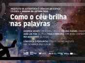 Imagem ilustrativa do evento (céu e leitura), acompanhada de várias informações (título, data e hora do evento; logótipos das entidades organizadoras)