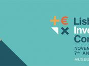 Logótipo da Lisbon Investor Conference, acompanhado de informações associadas ao evento (data e local), sobre um fundo verde marinho