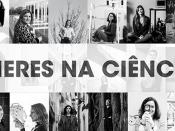 Mosaico de fotografias, a preto e branco, de mulheres cientistas