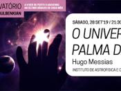 Imagem ilustrativa do evento, acompanhada de várias informações (título, dia, hora, local e orador) e referência à Noite Europeia dos Investigadores