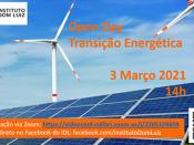 Imagem ilustrativa do evento (energia eólica e solar), acompanhada de várias informações (título, data e hora do evento; logótipo do IDL)