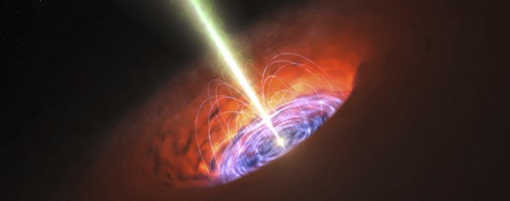 Ilustração de um buraco negro ativo no centro de uma galáxia