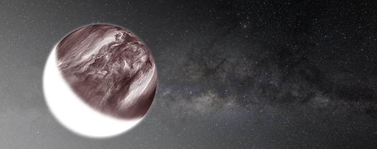 Composição de uma imagem de Vénus obtida no infravermelho com a Via Láctea em fundo