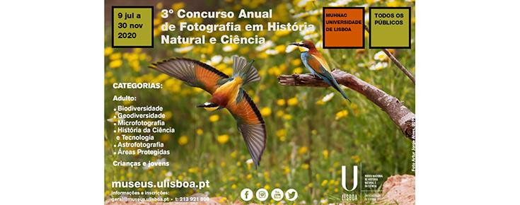Fotografia de aves, acompanhada de informações diversas sobre o Concurso