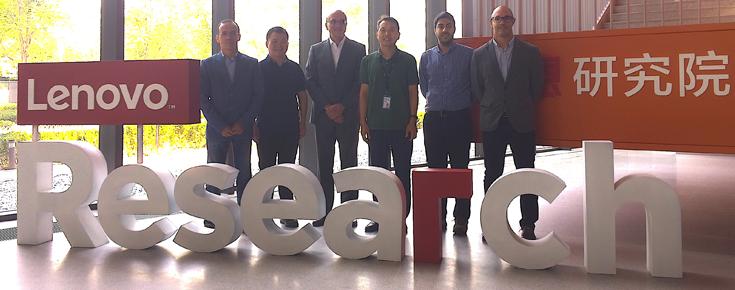 João Ricardo Silva, Deyi Xiong, António Branco, Changjian Hu, diretor do Grupo de Linguagem Natural da Lenovo, Rodrigo Santos e João Rodrigues