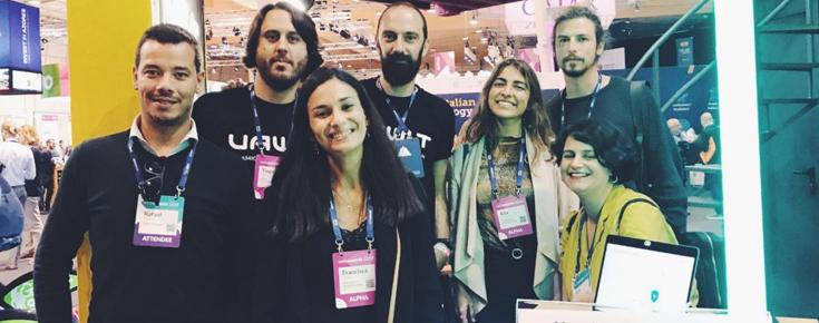 Representantes da Delta Soluções, Nevaro, Vawlt e equipa do Tec Labs no Web Summit 2019