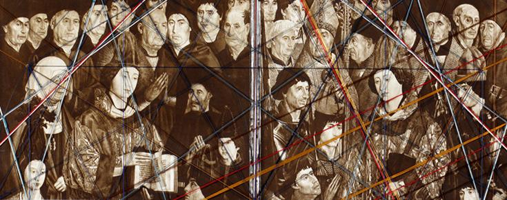 Pormenor do Estudo em fio dos Painéis de São Vicente, por Almada Negreiros (1950)