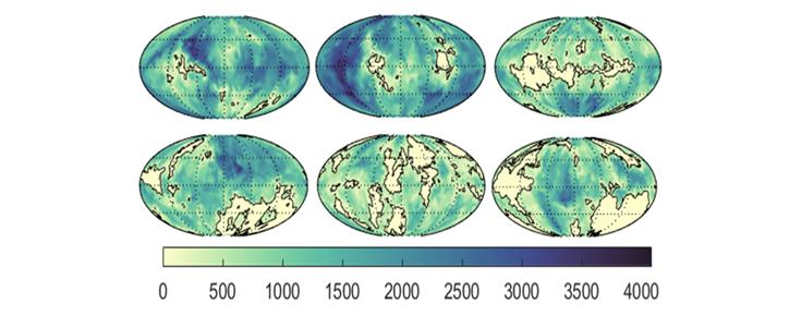 A distribuição potencial dos continentes no Arcaico e a profundidade do oceano em metros
