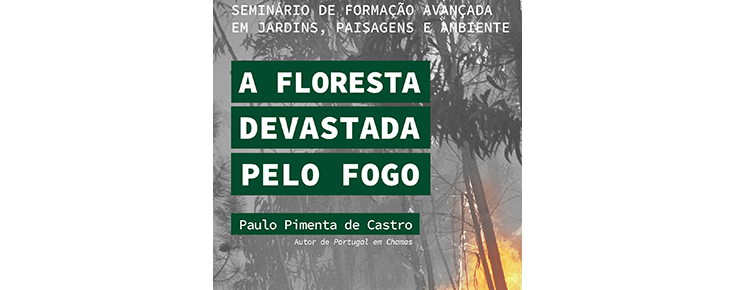 Título do evento, sobre uma fotografia de um incêndio florestal