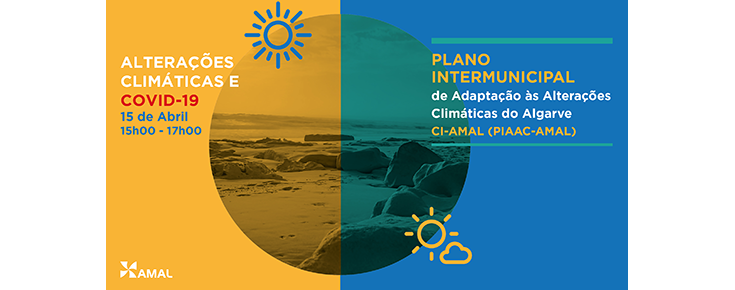 Título, data e horário da iniciativa, sobre uma imagem estilizada de uma praia