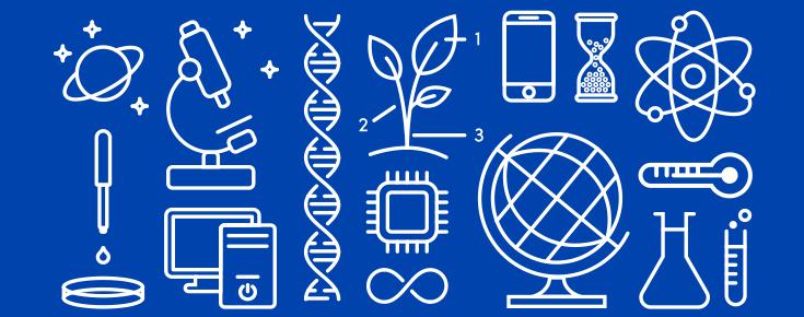 Iconografia representativa das áreas científicas de Ciências ULisboa (branco sobre um fundo azul)