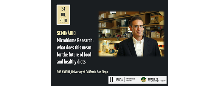 "Cartaz do Seminário ""Microbiome Research: what does this mean for the future of food and healthy diets"""