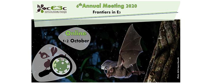 Título e data do evento, acompanhados do logótipo do cE3c e de uma fotografia de um morcego