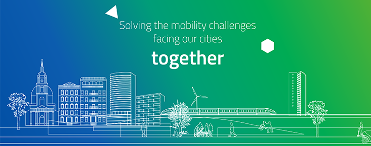 "Imagem ilustrativa do programa, acompanhada do texto ""Solving the mobility challenges facing our cities together"""
