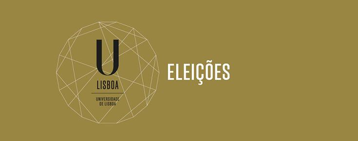"""Logótipo da ULisboa, acompanhado da palavra """"Eleições"""""""