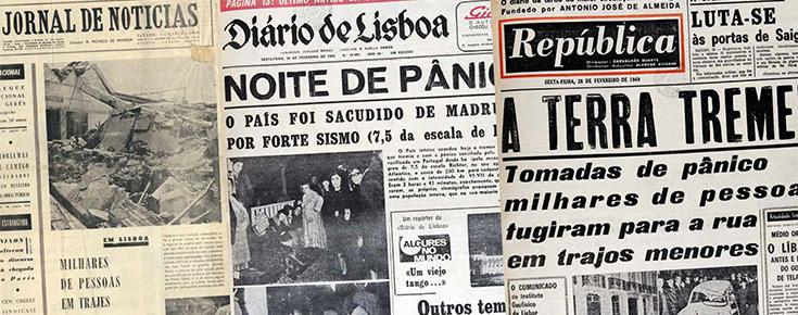 Recortes de jornal relativos ao sismo de 28 de fevereiro de 1969
