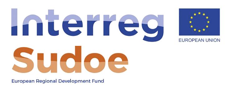 Logótipo do Programa Interreg Sudoe, sobre um fundo branco