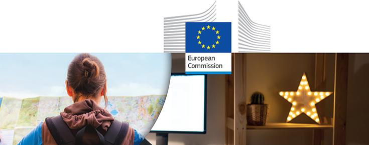 Imagem ilustrattva do programa, acompanhada do logótipo da Comissão Europeia