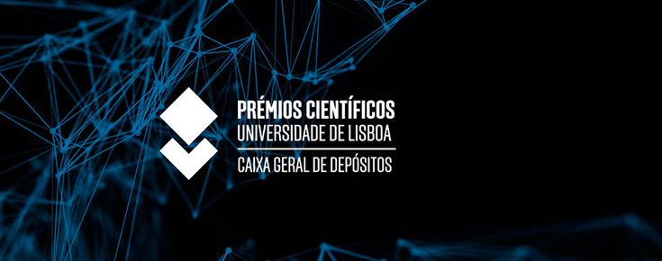 Logótipo dos Prémios Científicos Universidade de Lisboa / Caixa Geral de Depósitos, sobre um fundo azul escuro