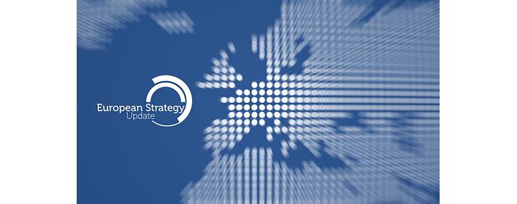 """Imagem estilizada do continente europeu, associada ao logótipo """"European Strategy Update"""""""