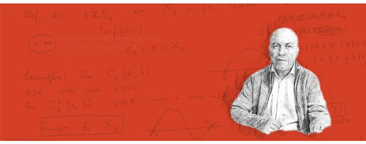 Fotografia estilizada de Luis Sanchez, sobre um fundo encarnado com fórmulas