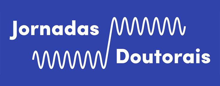 Logótipo das Jornadas Doutorais, sobre um fundo azul