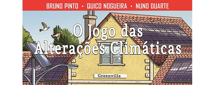 """Pormenor da capa do livro de banda desenhada """"O jogo das alterações climáticas"""""""