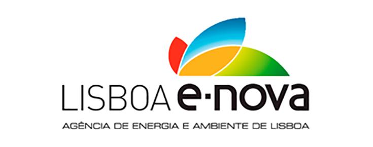 Logótipo da Lisboa E-Nova, sobre um fundo branco