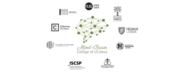 Logótipos do Mind-Brain College of the University of Lisbon e das instituições participantes, sobre um fundo branci
