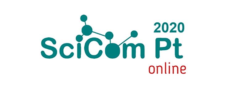 Logótipo do SciCom.Pt 2020 - Congresso de Comunicação de Ciência, sobre um fundo branco