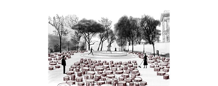 """Projeto da instalação """"Beyond the trees"""""""