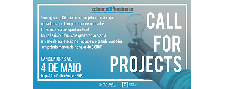 ScienceIN2Business - Call for Projects 2018 (novo prazo)