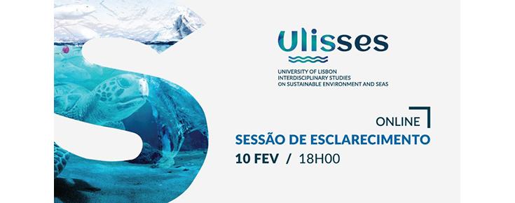 Cartaz da sessão, incluindo o logótipo do Projeto Ulisses e a data/hora/local de realização do evento
