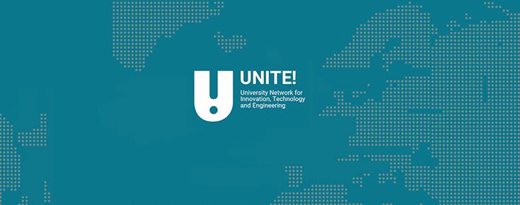 Logótipo UNITE!Dialogue Meeting, sobre uma imagem estilizada do globo